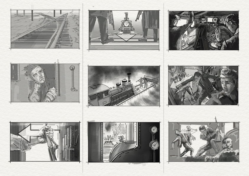 Storyboards - Train Heist - jonathan mcgonnell - concept ...