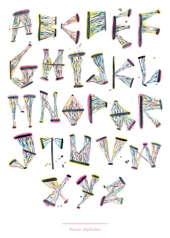 Sinew Alphabet - Emily Chappell - Illustration